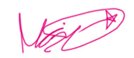 Marie's signature in pink