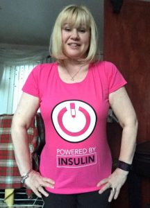 Sammi Robinson in pink powered by insulin tshirt