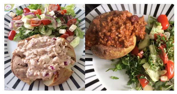 Jacket potatoes with tuna mayo or chilli
